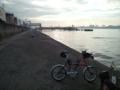 朝の名古屋港サイクリング。釣り客多いね。