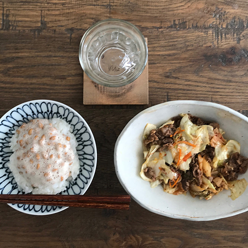 牛肉キムチ炒め