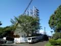 平塚競技場のオーロラビジョン設置工事、だいぶ進んでる。