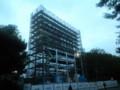 平塚競技場のオーロラビジョン設置工事の進行具合