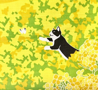 猫のたまが蝶々を追いかける絵