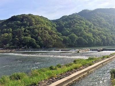 嵐山の新緑と川の風景