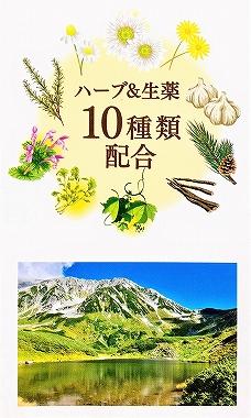ハーブと生薬10種類の絵と北アルプスの山