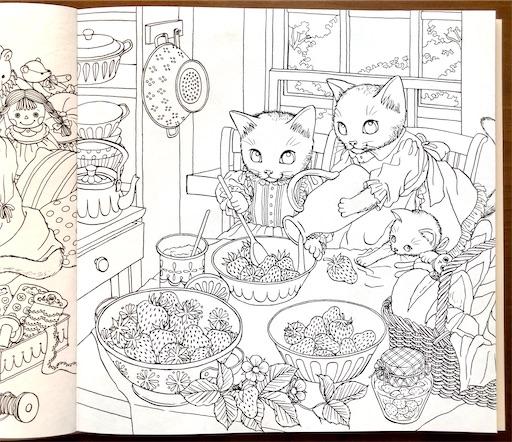 イチゴとネコの塗り絵