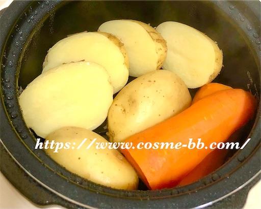 ラクラクッカー プラス(電気圧力鍋)で蒸したジャガイモと人参