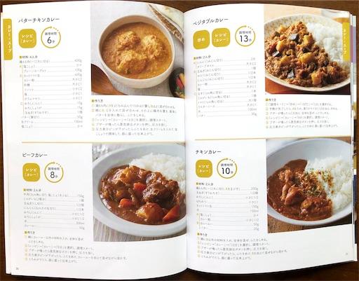 ラクラクッカープラスのレシピブックに載っているカレーのレシピ4種類