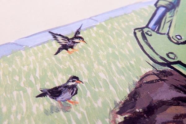 ざっくんショベルカーに描かれている鳥たち