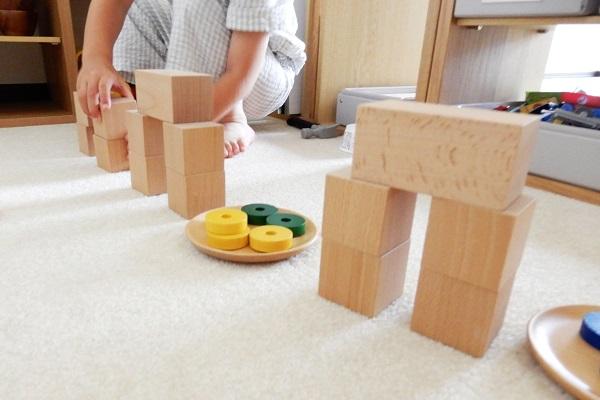積み木でメダカの家を作る長男
