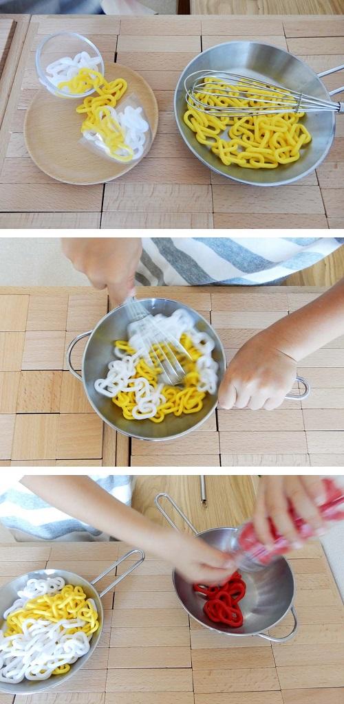 ままごとで卵料理をリアルに表現