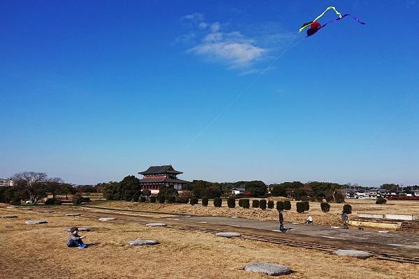 平城宮跡で凧揚げ