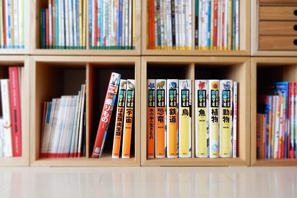 図鑑が並ぶファミリー本棚