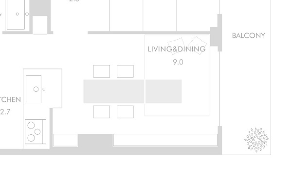 1LDKの小さなリビングダイニングでもテーブルは大きく