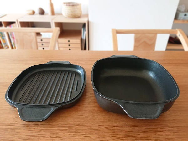 フライパン代わりに味わい鍋の角型が便利