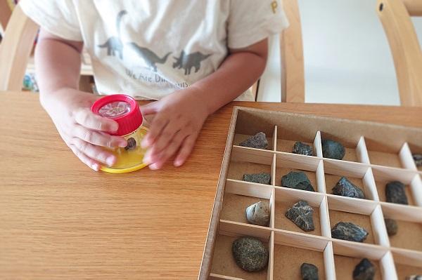 キッズルーペで石を観察