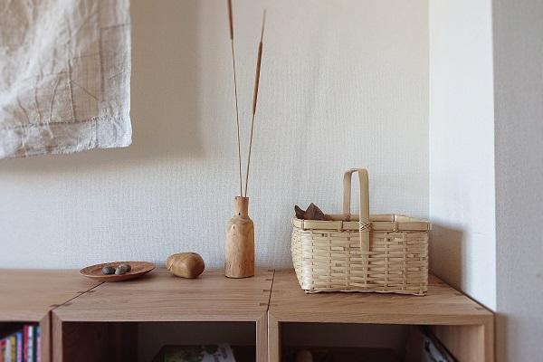 竹かごをコレクションボックスに