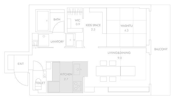1LDK4人暮らしのキッチン