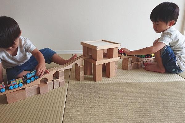 2歳差兄弟の積み木遊び