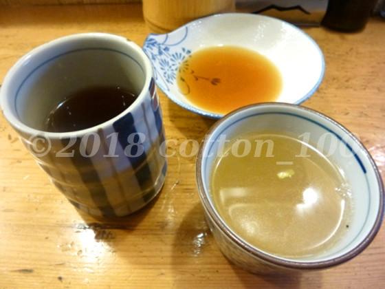 茅場町やき鳥宮川のから揚げ定食とほうじ茶とつけダレと鶏スープ