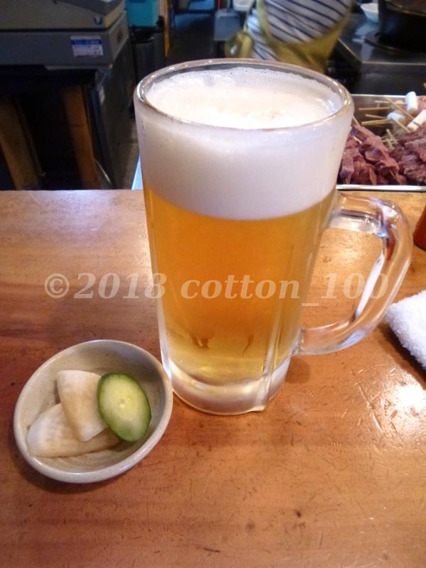 東十条の新潟屋の生ビールとお通し