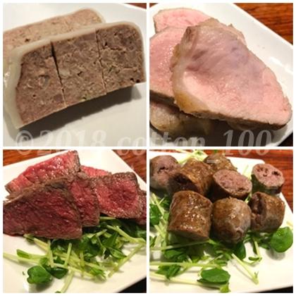 肉山の豚肉のパテと四元豚ローストと国産和牛イチボと肉山ソーセージ
