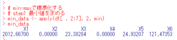 apply()関数とmin()関数で最小値を求める