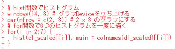 windows関数, par関数, for関数, hist関数