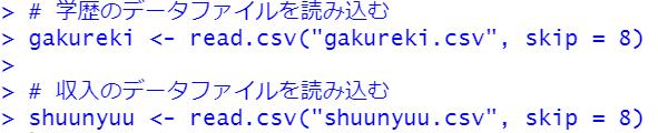 read.csv関数でCSVファイルを読み込む