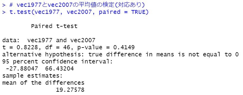 t.test関数(対応あり)