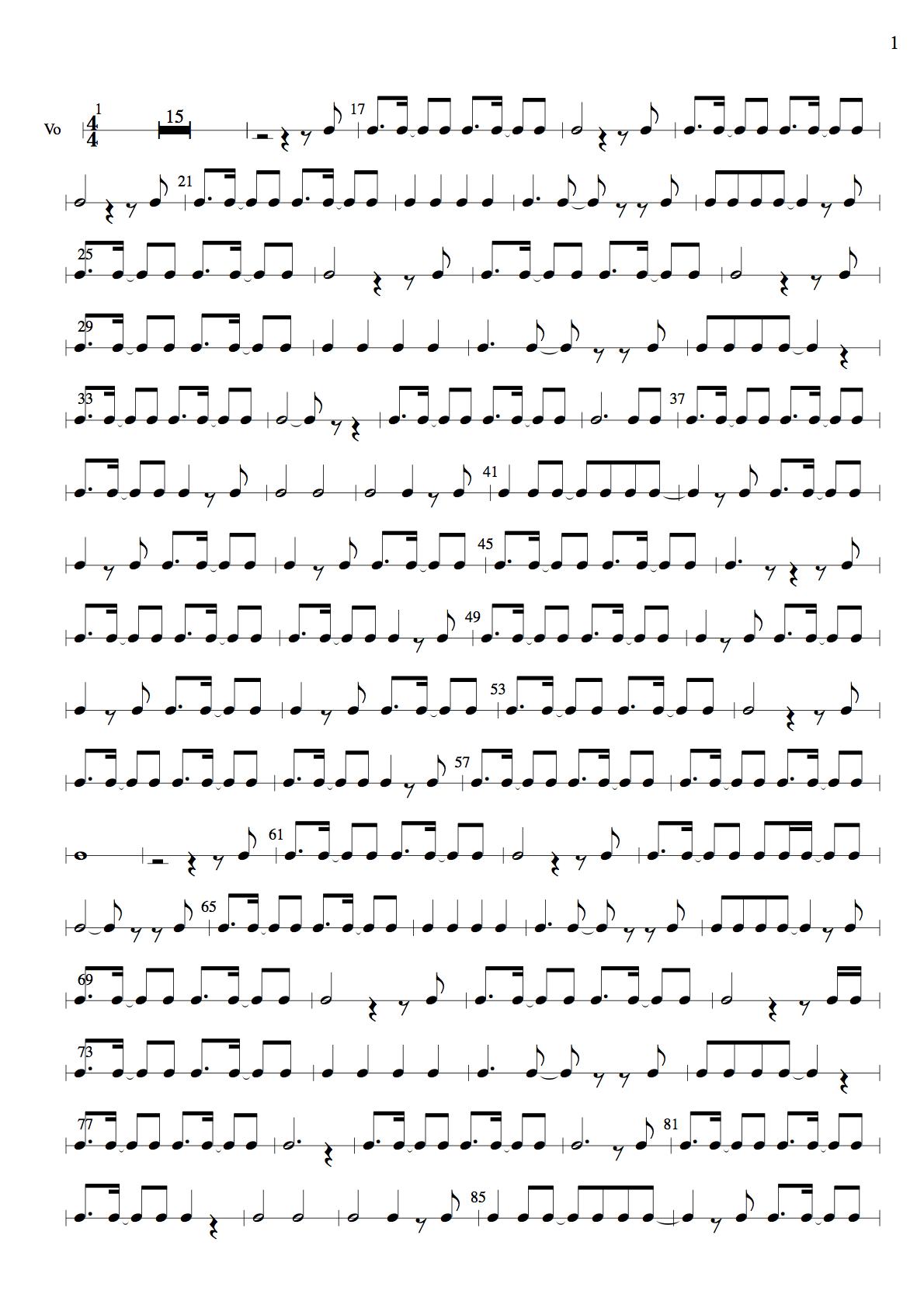 『サヨナラの意味』のリズム譜1