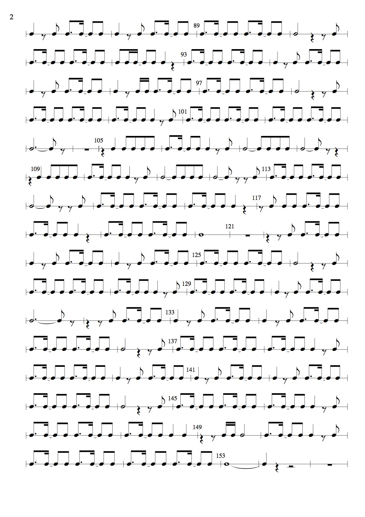 『サヨナラの意味』のリズム譜2