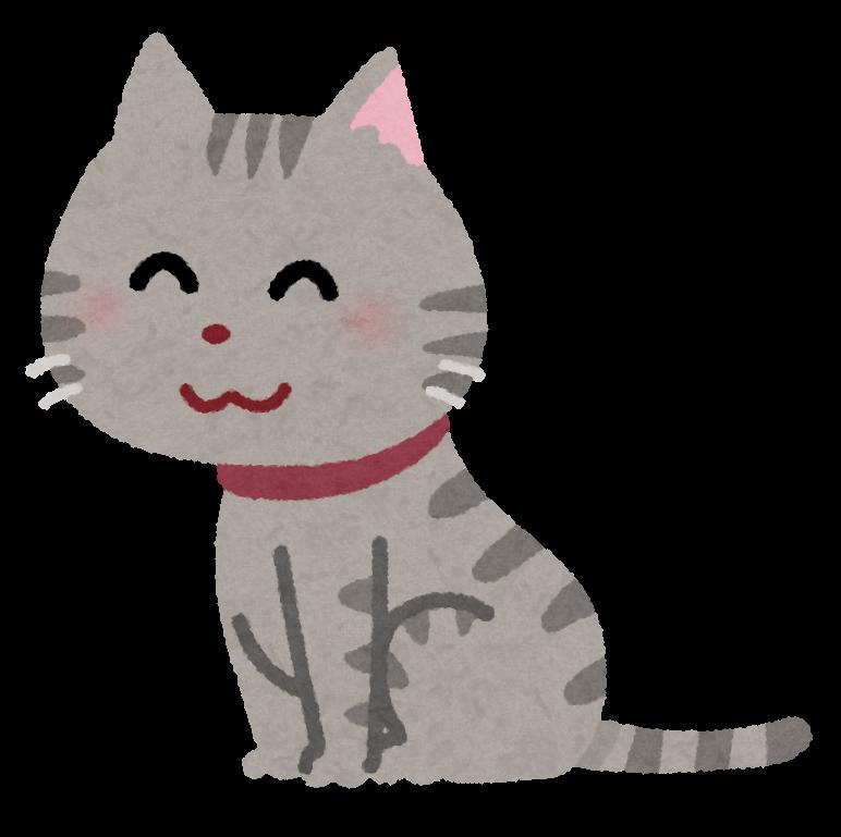 床に手をついて座っているかわいい猫のイラスト