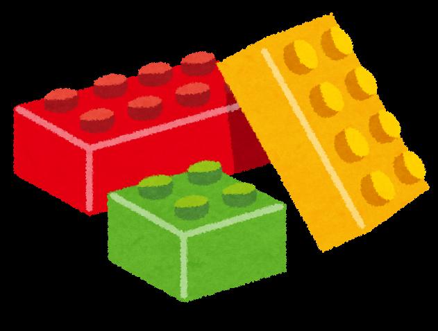 組み合わせて遊ぶブロックおもちゃのイラスト