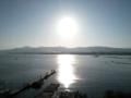 京都新聞写真コンテストセピア色の夕日(琵琶湖から比叡山を望む)