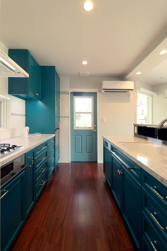 キッチン ブルーグリーン