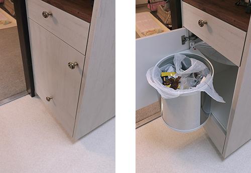 扉を開けるとゴミ箱が飛び出します【キッチン収納】施工例