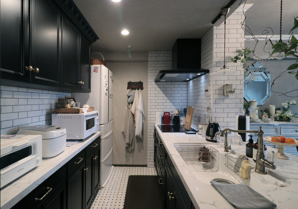 オーダーキッチン|框扉キッチン|オーダーキッチン収納|フランス貼