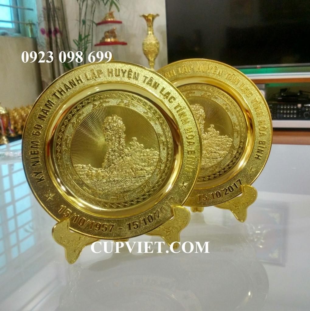 đĩa lưu niệm bằng đồng,bằng bạc.đĩa mạ vàng 24k cao cấp, biểu tượng logo doanh n