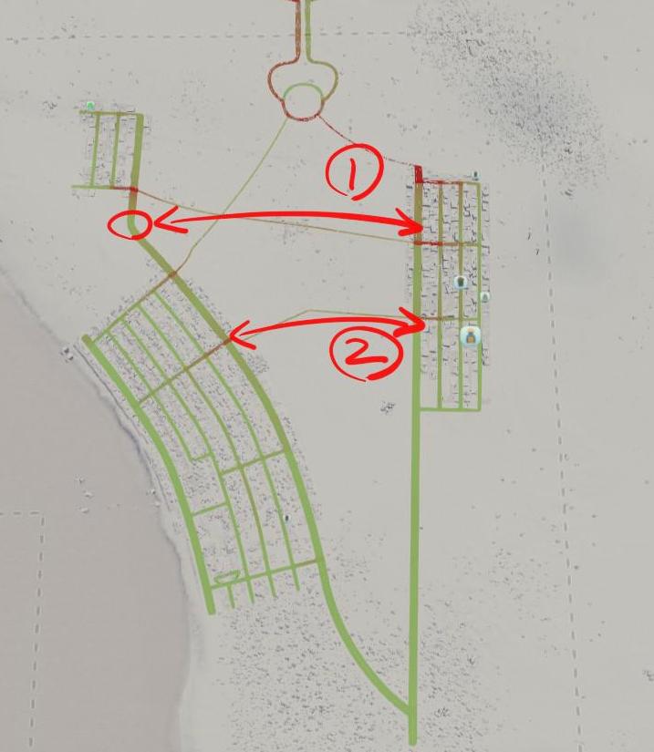 Cities:Skylinesの序盤の道路計画のラフ