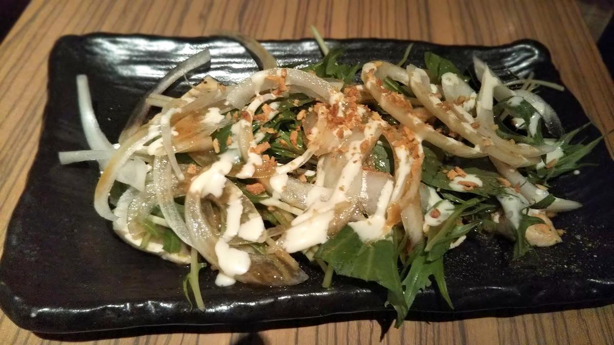 京都四条にある秀寅のコース内容の一つ、鶏胸肉のカルパッチョ