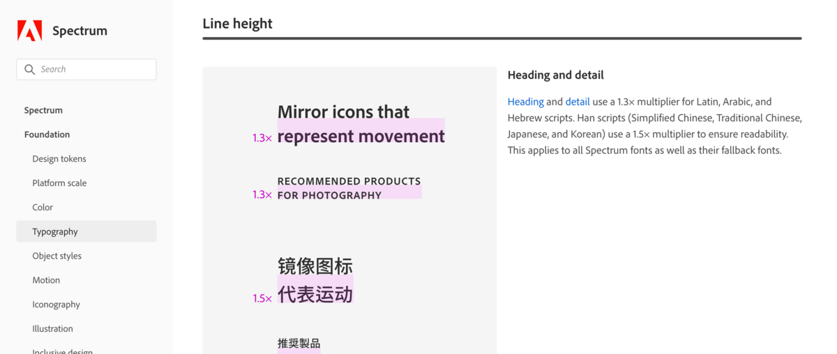 Adobe Spectrumに指定されたLine heightの指定例