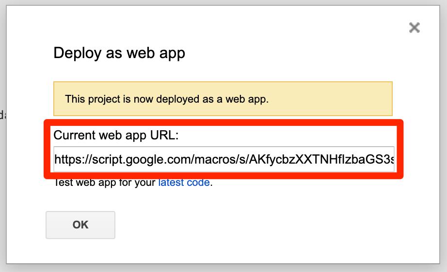 Current web app URL