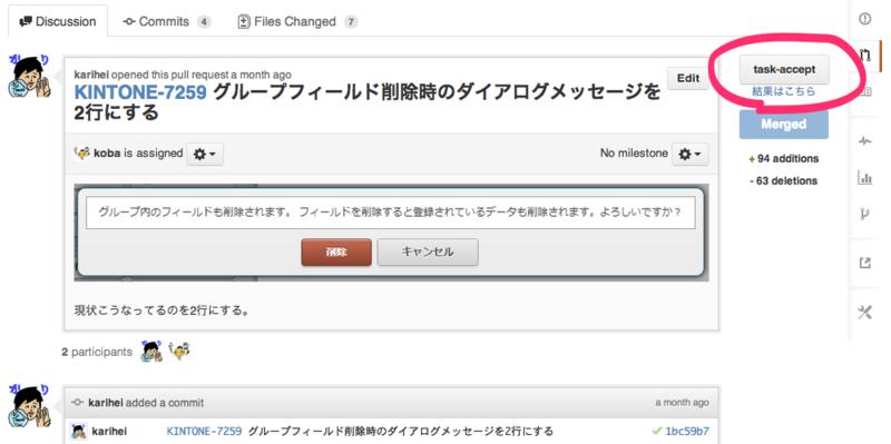 「task-accept」ボタンを押すとこのタスクブランチでSelenium受入テストが実行できる。これでマージも安心!