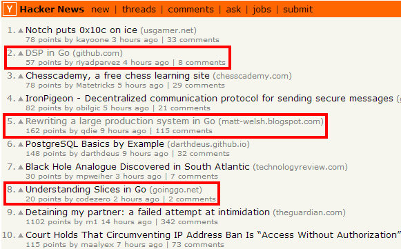 Go at Hacker News