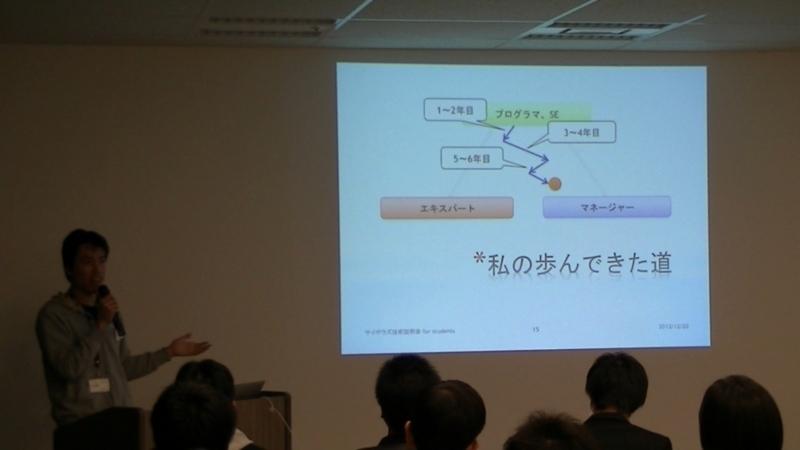 サイボウズ技術説明会(2012年12月)で話をする、kintone開発リーダーの岡田