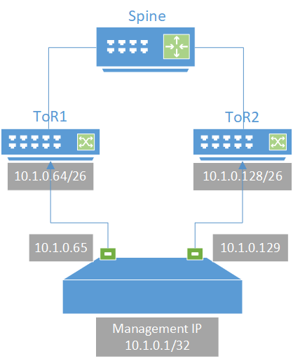 a server in a rack establishing connections with ToR switches