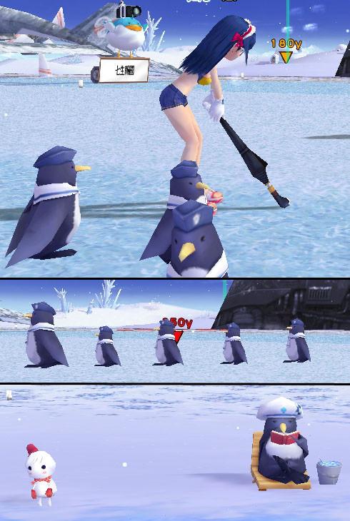 アイスキャノンに屯するペンギン達之圖