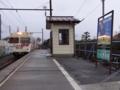 渚駅に入線するアルピコ交通3000系之圖