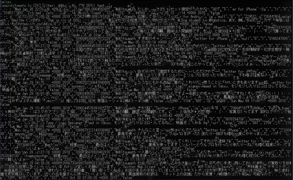 実行結果(コマンドプロンプト画面)