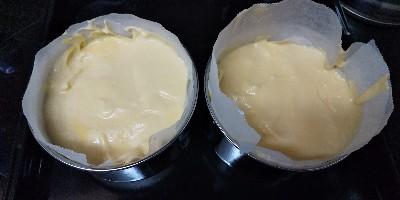 豆腐でシフォン*バナナと桃のケーキ