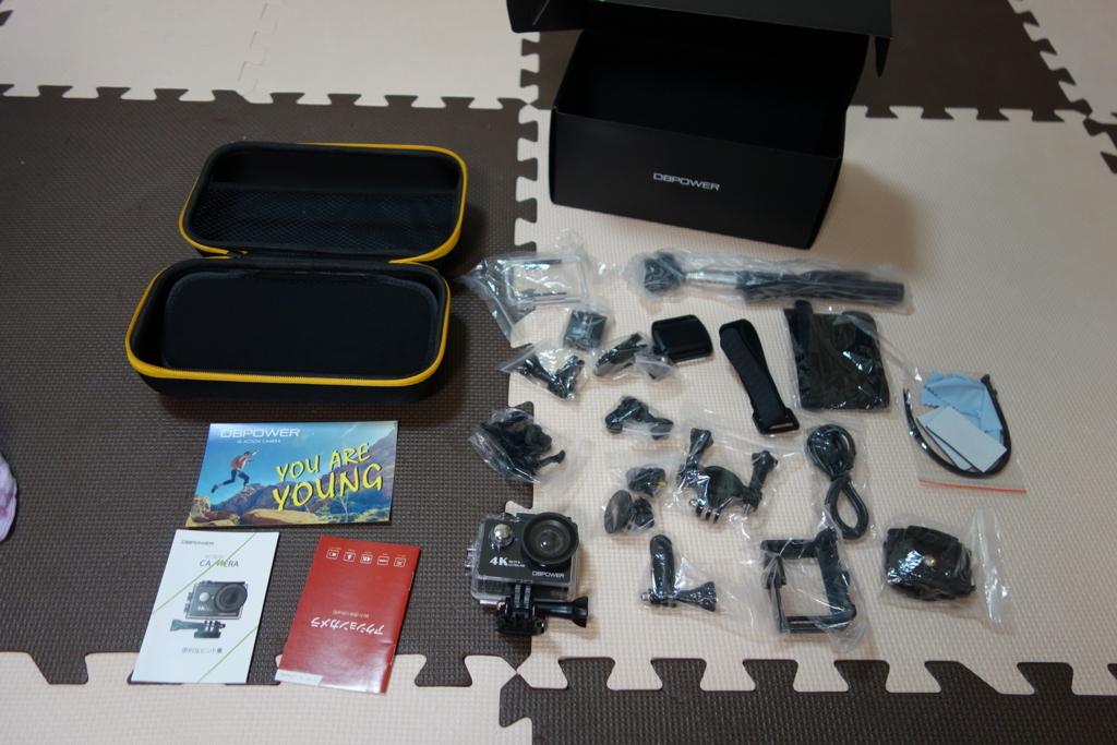 格安アクションカメラDBPOWER 4K 12MP 本体と付属品
